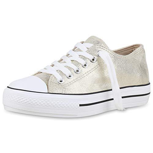 SCARPE VITA Damen Plateau Sneaker Turnschuhe Schnürer Basic Plateauschuhe 174389 Gold 39