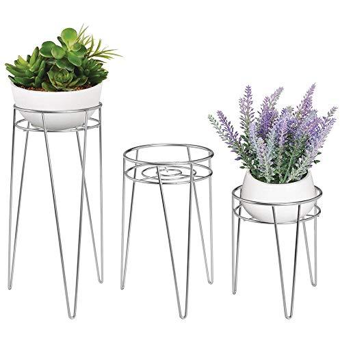 mDesign 3-er Set Midcentury Pflanzenständer für Blumen, Sukkulenten aus Metall – runder Blumenständer im modernen Design – vielseitig nutzbare Blumensäule für drinnen und draußen – silberfarben