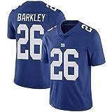 FAONL Saquon Barkley # 26 Maillot de Football américain Giants de New York, Maillot de Rugby Top Elite Edition brodé T-Shirt Haut de Sport à Manches courtes-blue-2XL