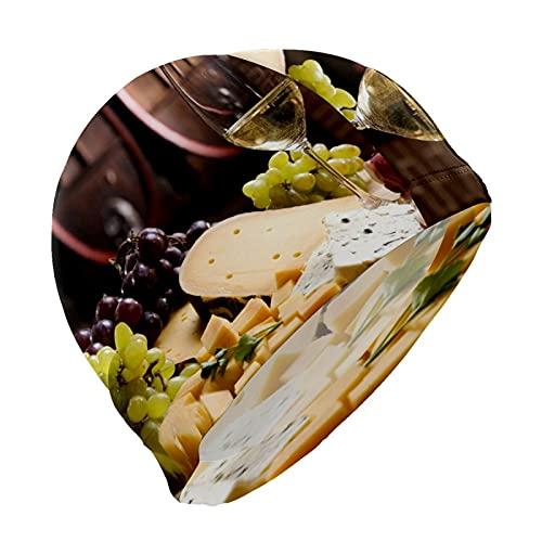 Gorro de natación retro con uvas francesas y queso de vino tinto para hombres, niños, adultos, jóvenes, adolescentes, gorro de natación antideslizante
