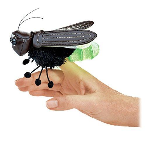 Folkmanis Mini Firefly Finger Puppet, Green, Black, 1 EA