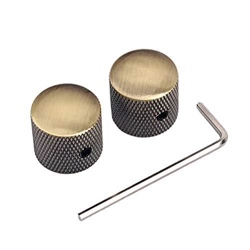 Healifty 2 pezzi di manopole per manopole di controllo elettronico in metallo per basso tono di chitarra elettrica con chiave a tubo truss