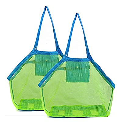 Amiaus 2 Pack Extra Large Mesh Beach Bag Childrens' Toy Storage Swimming Equipment Storage Bag Laundry Tote Backpack,Stay Away from Sand and Water, Toy Not Included (Blue)
