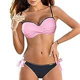 BBestseller Impresión triángulo Sling Push-Up Bikinis Mujer 2019 Cómodo Bohemia Playa al Aire Libre Trajes de baño Mujer (XL, Rosado 1)