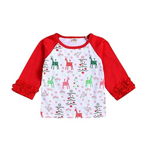 Moneycom Camisa de dibujo animado de animales, ropa 2019, nuevo producto bonito y cómodo, rojo y verde rojo 0-12 Meses