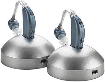 Digital Hearing Amplifier -  Pair of 2  Personal Hearing Enhancement Sound Amplifier Rechargeable Digital Hearing Amplifier with All-Day Battery Life Modern Blue