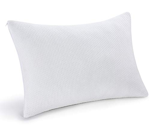 Shredded Memory Foam Pillow For Neck Support & Pain Relief - 2 Comfort Zones (Soft & Firm) Adjustable for Stomach Back & Side Sleepers, Best Orthopedic Sleeping Pillow - Bamboo Cover