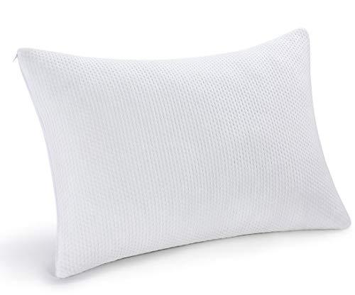 pillowLY Cuscino Memory Foam Cervicale Ortopedico, Guanciale Letto per Supporto Collo, con 2 Zone Regolabili di Comfort (Morbida e Rigida), Fodera in bambù Sfoderabile e Lavabile in Lavatrice.