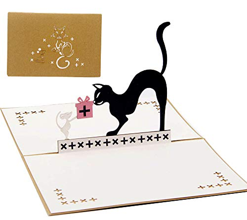 DEESOSPRO® [Tarjeta de Cumpleaños] [Tarjeta de Aniversario] [Tarjeta de Graduación] con Patrón Emergente 3D Creativo, Regalo para Cumpleaños, Graduación, Navidad, Día del Niño (Tom y Jerry)