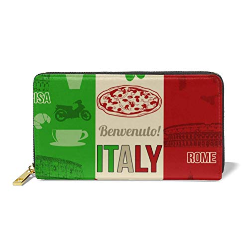 UXZTU Italien Pizza Mode Frauen Leder Geldbörsen Reißverschluss Clutch Geldbörse