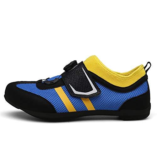 JJK Los Hombres del Ciclismo Zapatos, Zapatos Unisex Bicicleta De Adulto Transpirable Antideslizante Zapatos De Bicicletas De Montaña Ciclismo De Bloqueo Gratuito Calzado,Azul,42