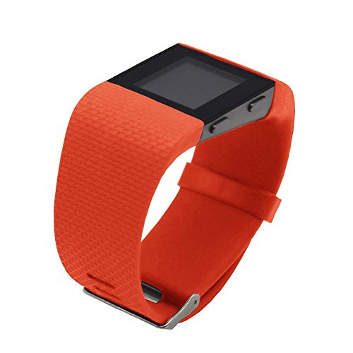 Replacement Bands for Fitbit Surge Watch, Silicone Compatible Metal Buckle Fitness Tracker Original Wristband Strap Small&Large