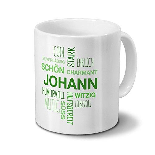 Tasse mit Namen Johann Positive Eigenschaften Tagcloud - Grün - Namenstasse, Kaffeebecher, Mug, Becher, Kaffeetasse