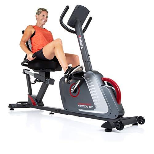 HAMMER Liegeergometer Comfort Motion BT, Komfortables Fitnessfahrrad mit Ergo-Bequemsitz & Rückengesundlehne, Bluetooth und App-Steuerung, 22 Trainingsprogramme, 160 x 52 x 110 cm
