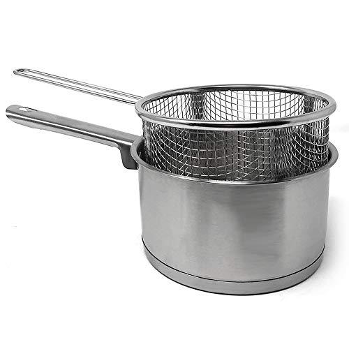 MGE - Kasserolle mit Frittierkorb - Kochtopf - Stielkasserolle - Butterpfännchen - Frittierkopf - Induktionsgeeignet - Edelstahl - Ø 16 cm