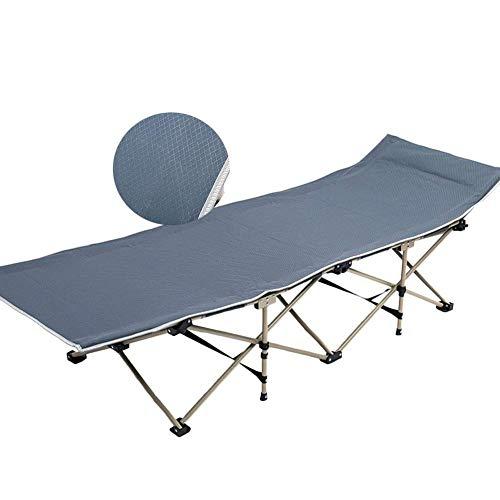 FACAZ Silla reclinable para Exteriores, Adultos, Cama de Camping Plegable, portátil para Personas Pesadas, Tumbona con Bolsa de Transporte para Acampar, Oficina en casa, Soporte 200 kg (Color: Azul)