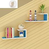 壁掛け棚収納棚 Chihen ウォールシェルフフローティングシェルフ、フローティングウォールハンガーディスプレイスタンド2個ディスプレイスタンド棚ウォールシェルフ本棚ウォールマウント木製フレーム 1227 (Color : E)