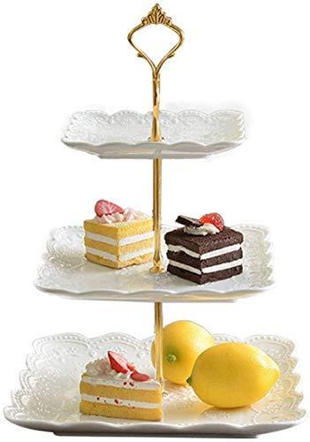 Nuokix Snack-Dip tazón cuencos de cerámica vajilla plato de fruta de tres capas, almacenamiento té por la tarde placa de la torta aperitivo moda de la placa de múltiples capas blanco europeo Marco sop