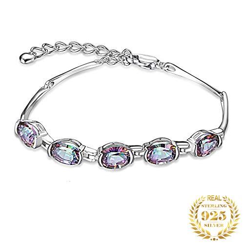 HXML Jewelrypalace Pulsera De Plata Esterlina De Topacio Místico Natural 925 Gemas De Tenis Pulseras para Mujeres Joyería De Plata 925