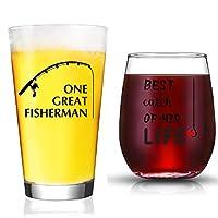 ウェディングギフト - Mr. Right and Mrs. Always Right ワイングラスとビールグラス - カップルのギフト 記念日、婚約、クリスマス、バレンタインデーに クリア JE-FI