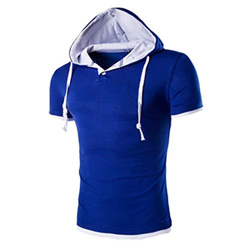 Herren T-Shirt mit Kapuze Sommer Kurzarm Kapuzenshirt Stylische Hoodie Sweatshirt Patchwork Freizeithemden Männer Sport Shirts Hoody Basic Slim Fit 4XL