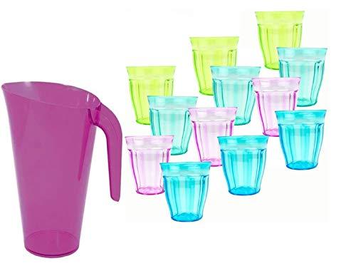 Pack 12 Vasos de 250ml de Colores y 1 Jarra de 1,5l de Agua plastico Reutilizable/ libre de BPA , Duro, vajilla, Tazas, Copas, Vaso, niños, Infantiles, de Agua, cóctel, Fiesta (lila)