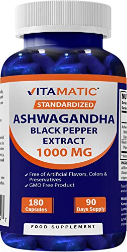 Vitamatic Ashwagandha 1000mg per Serving 180 Capsules - with Added Black Pepper - Standardized to Contain 1.5% withanolides