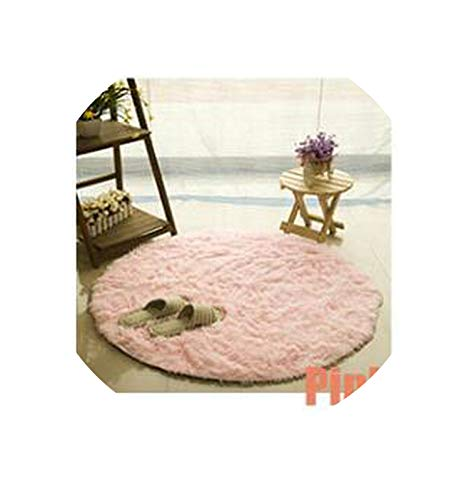 Solid Color Round Carpet for Living Room Faux Fur Area Rugs Home Decoration,Pink,Diameter 120Cm