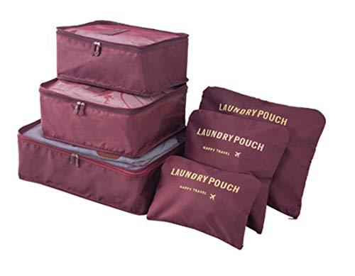 Embalaje Cubos Juego de 6 Piezas, Organizador de Equipaje QSEVEN Viajes Bolsa de lavandería Bolsa de Aseo Ropa Accesorios Bolsa para Viajes