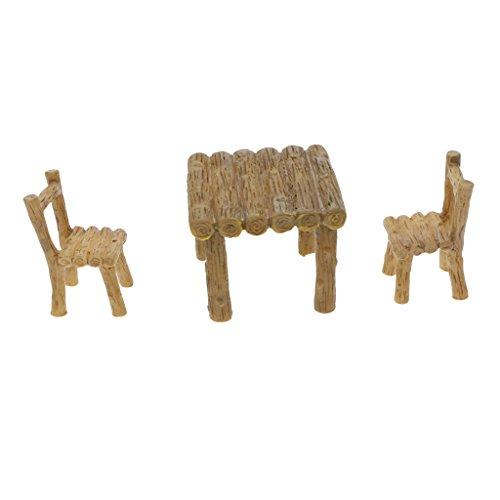 MagiDeal Miniature en Résine Artificielle Bonsaï Paysagère Miniature Décoration Jardin Maison - 3X Chaise Table