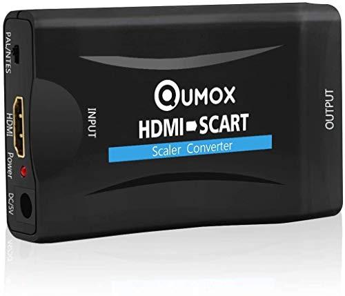 Adaptador de euroconector a HDMI, convertidor de euroconector a HDMI, convertidor de euroconector a HDMI, convertidor de salida de HDMI, adaptador de audio de vídeo, color negro
