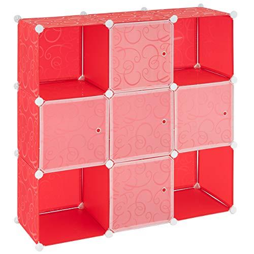 Nexos Steckregal aus Kunststoff rot Ablagefächer mit Tür 108x110x37cm individualisierbares DIY Stufenregal Kastenregal stapelbar erweiterbar mit Holzhammer