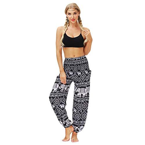 Cintura Alta Pantalón De Yoga Mujer,Pantalones Deportivos De Verano con Estampado De Elefante Tradicional De Estilo Étnico Pantalones De Yoga Casuales-Yci151_One_Size