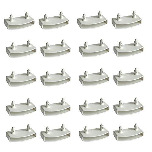 XIAONAN 54-55mm 20PCS Weiß Lattenhalter (Lattenrost) für Mittelschiene Ersatz Bett Lamelle Inhaber Kits Plastik Ende Kappen Inhaber Breite 54 mm x Höhe 9 mm (Innenmaß)