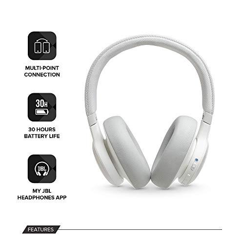 JBL LIVE 650BTNC - Cuffie wireless con Bluetooth e cancellazione del rumore, suono di qualità JBL con assistente vocale integrato, fino a 30 ore di musica, bianco