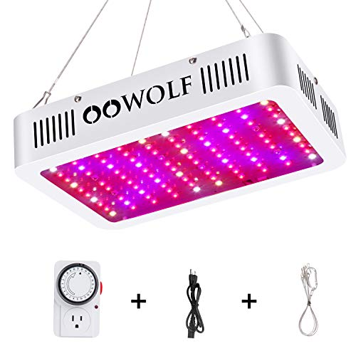 OOWOLF 1000W LED Grow Light, with Mechanical Outlet Timer Full Spectrum UV&IR Daisy Chain Plant Light for Indoor Growing Herbs Plants