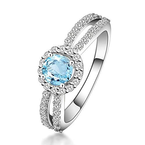 Adokiss Joyas Anillo 925 Mujer, Anillos de Compromiso Plata de Ley Redonda 5X5MM Azul Topacio con Circonita Blanco | Plata | Tamaño 22 | Regalo San Valentín para tu Esposa