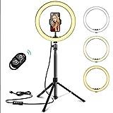 Castanino 10' Selfie Anillo de Luz con 3 Modos de Colores, 10 Brillo Regulable, 1.6M Trípode, Bluetooth Remoto para Fotografía/Maquillaje/Transmisión en Vivo/Youtube/Vlogs