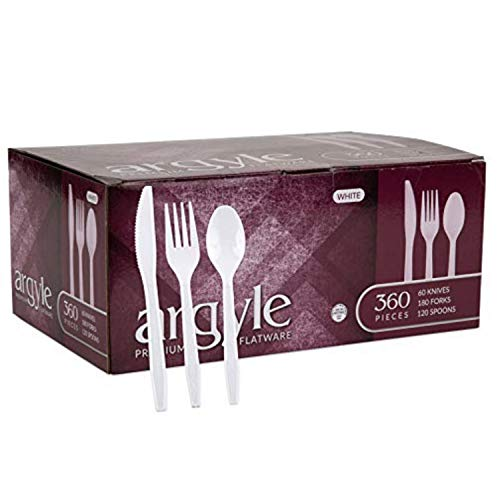 White Plastic Silverware   Heavy Duty & Solid Cutlery Disposable Utensils Set   Perfect for Weddings, Buffets, Luncheon & More   180 Forks, 120 Spoons & 60 Knives Combo Pack   360 Count