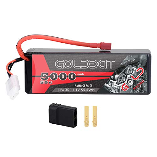 GOLDBAT 11.1V 5000mAh 3S 50C LiPo RC Battery Hard Case Pack with Deans Connector for Emaxx Axial RC Car Truck Buggy Truggy Vehicle