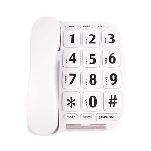 KerLiTar K-P011W Big Button Corded Phone for Elderly with Handsfree Speakerphone Amplified Phone Hearing Aid Compatible Landline Phones for Seniors(White)