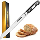 Bread Knife 10 inch - STEINBRÜCKE Ultra Sharp Serrated Knife Made of German 5Cr15Mov Stainless Steel, Full Tang, Classic Bread Slicer with Ergonomic Handle for Homemade, Crusty and Soft Bread
