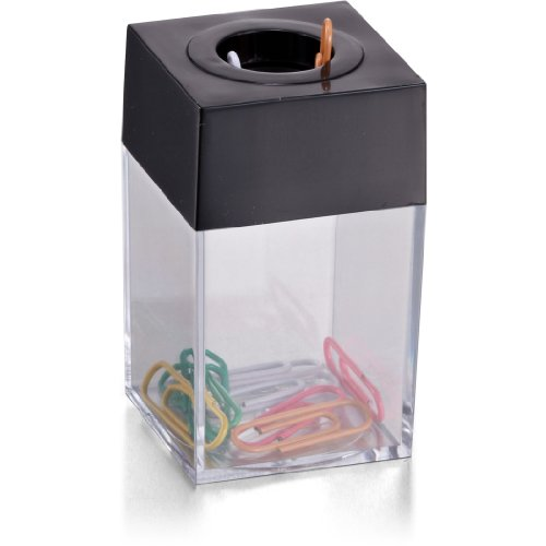 Officemate OIC Small Clip Dispenser with Magnetic Top, Clear/Black (93687)