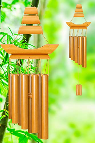 RENOOK Bamboo Wind Chimes - Handmade Memorial Wind Chimes, Indoor Outdoor Soothing Melodic Tones, Windows Yard Decor, Amazing, Mom's Best Gifts, Keep for Your own Patio Porch Garden Backyard