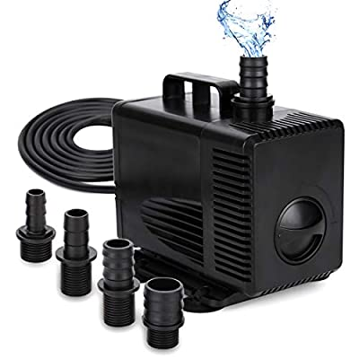 GROWNEER 1050GPH Submersible Pump 100W Ultra Quiet Fountain Water Pump, 4500L/H, with 14.8ft High Lift, 4 Nozzles for Aquarium, Fish Tank, Pond, Hydroponics, Statuary