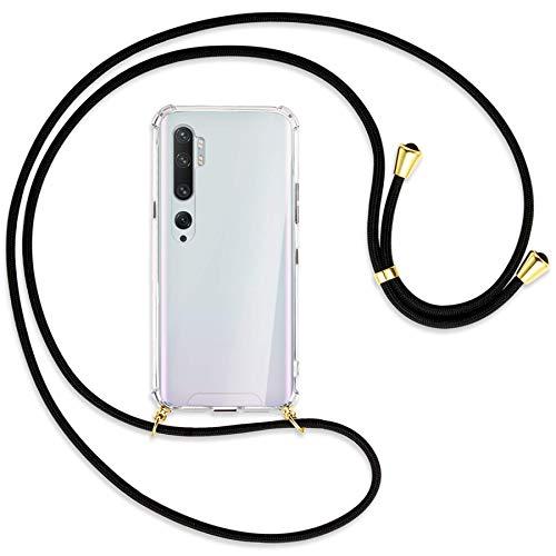 mtb more energy® Collar Smartphone para Xiaomi Mi Note 10, Note 10 Pro (6.47'') - Negro/Oro - Funda Protectora ponible - Carcasa Anti Shock con Cuerda