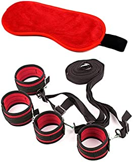 Black Under Bed Straps Kits for Couple with Nylon and Sleeping Mask (Red)
