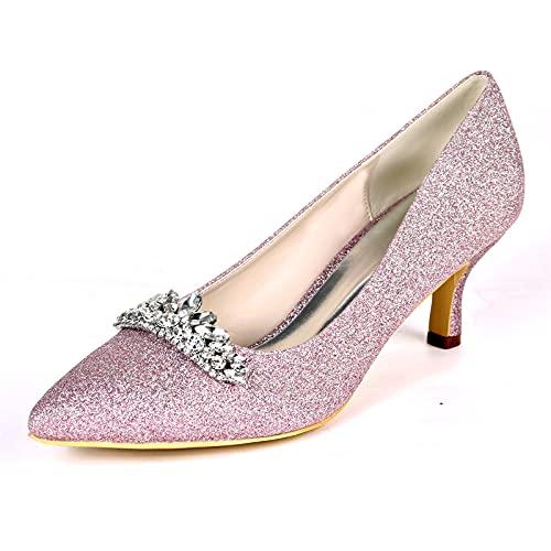 Zapatos de Boda, Sexy Zapatos de Tacón para Mujer con Pedrería Puntiagudas...