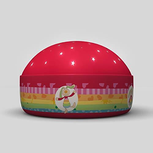 Niermann Standby 80062 Nachtlicht Rainbow Rabbit Projektor, Plastik, rot, 12 x 12 x 7.5 cm
