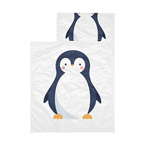 Travel Sleeping Bag For Kids Penguin White Black Handsome Animal Kids Size Sleeping Bag Soft Microfiber Lightweight Travel Nap Mat Perfect For Preschool, Daycare And Sleepovers